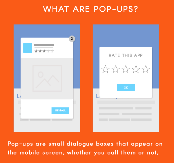 What are pop ups in mobile apps