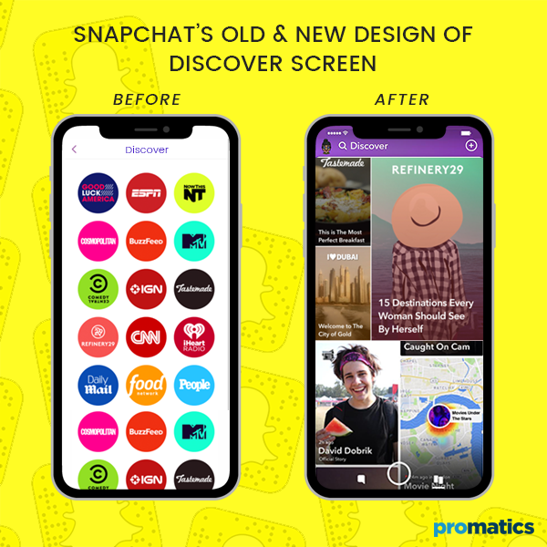 Snapchat's old and new design of discover screen