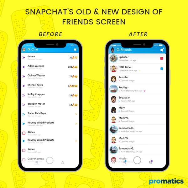 Snapchat's old and new design of friends screen