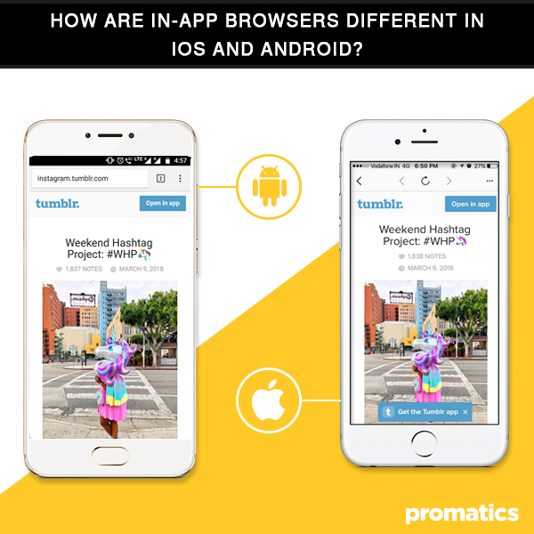 How are in-app browsers different in iOS and Android