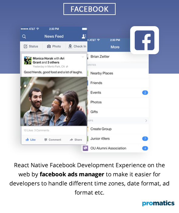 Facebook Ads Manager was built with React Native