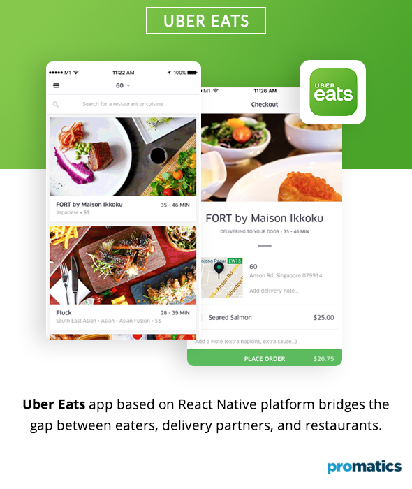 Uber Eats built using React Native